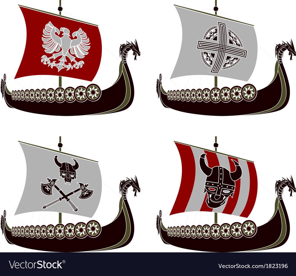 Set of viking drakkars vector | Price: 1 Credit (USD $1)
