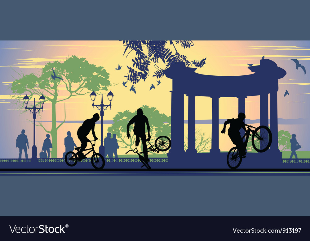 Boys on bicycles vector | Price: 1 Credit (USD $1)