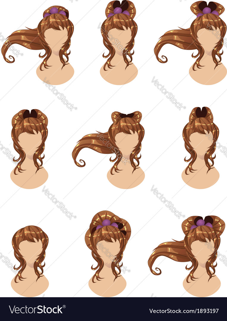 Brown hair in different styles vector | Price: 1 Credit (USD $1)