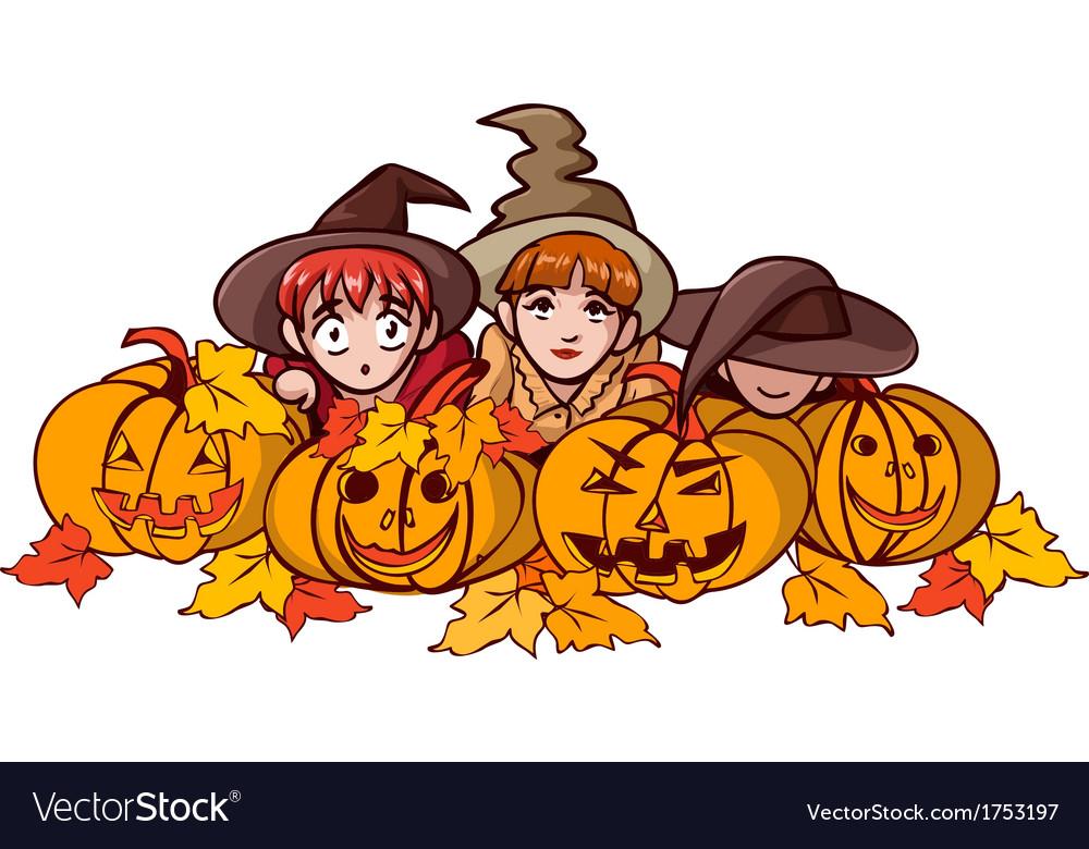 Children and pumpkin vector   Price: 1 Credit (USD $1)