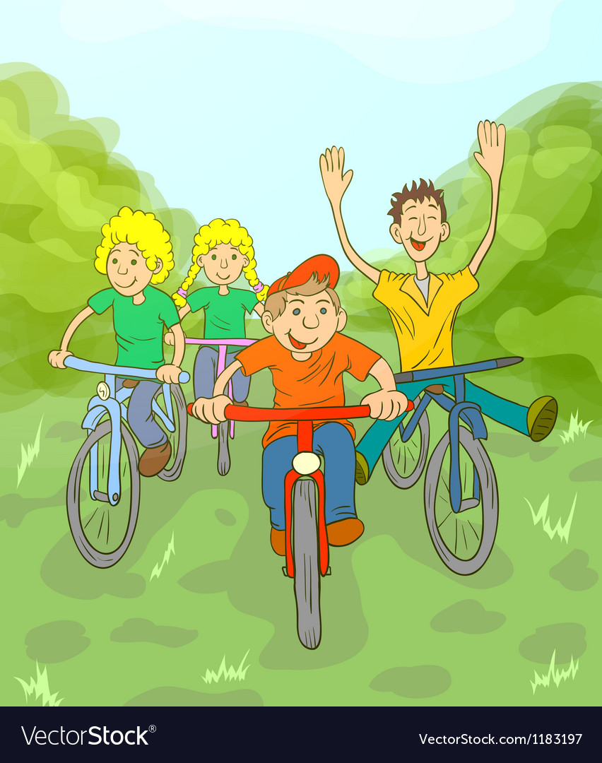 Children ride bike vector | Price: 3 Credit (USD $3)