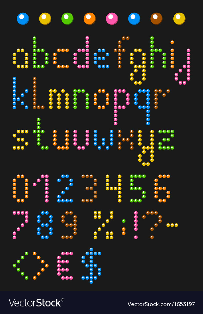 Colorful beaded lowercase english alphabe vector | Price: 1 Credit (USD $1)