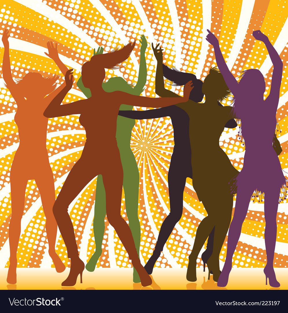 Dancing girls with ray backgro vector | Price: 1 Credit (USD $1)