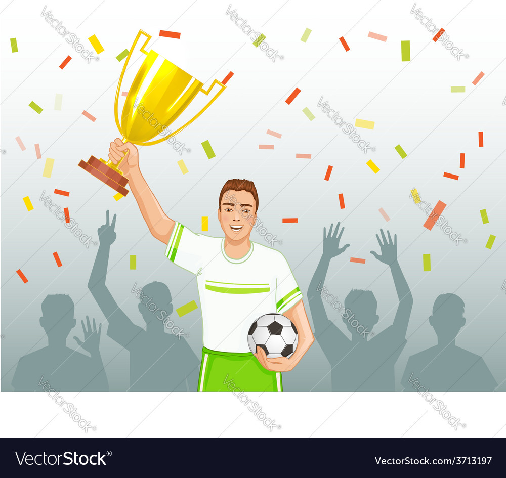Footballer with winner cup vector | Price: 1 Credit (USD $1)