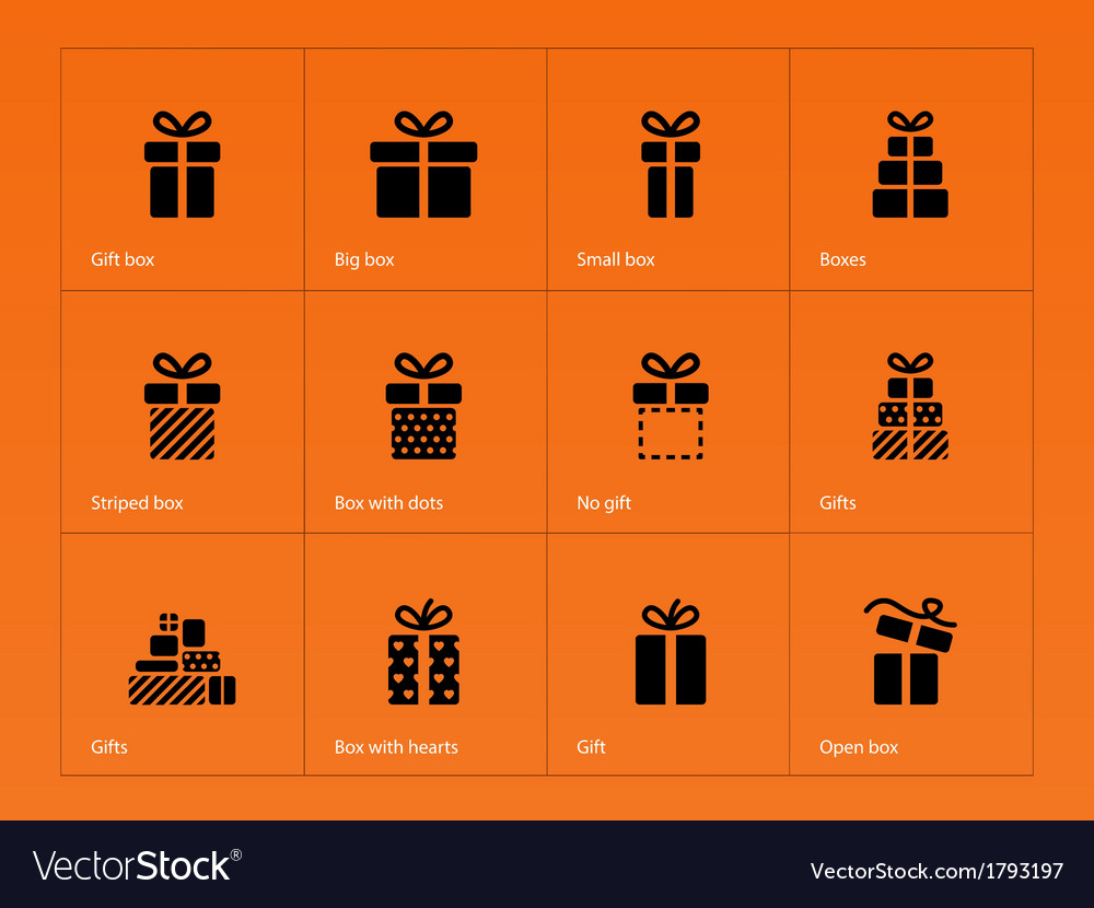 Gift icons on orange background vector | Price: 1 Credit (USD $1)