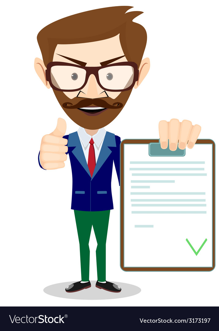 Hipster man holding a paper with green flags vector | Price: 1 Credit (USD $1)