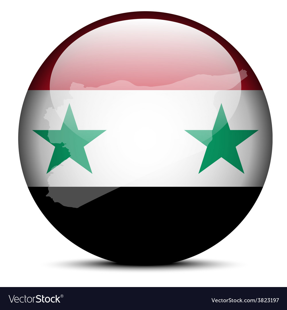 Map on flag button of syrian arab republic vector | Price: 1 Credit (USD $1)