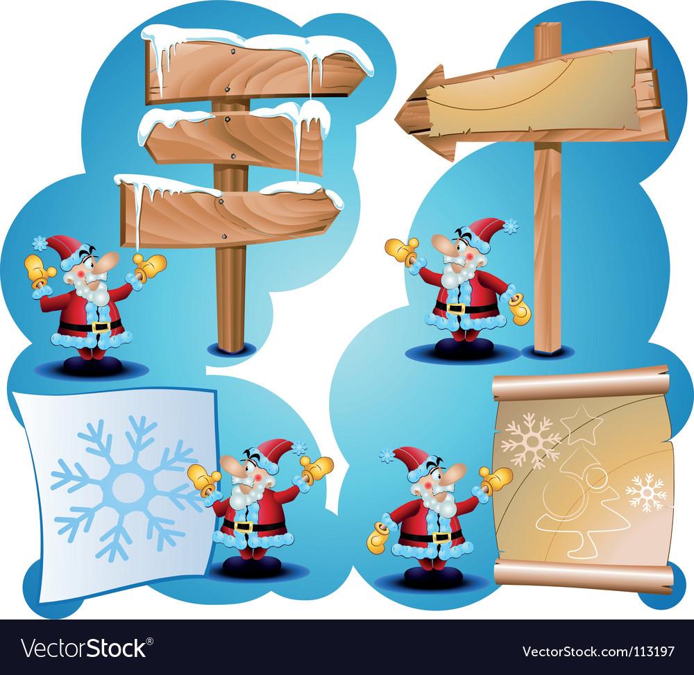 Santa claus and road signs vector   Price: 3 Credit (USD $3)