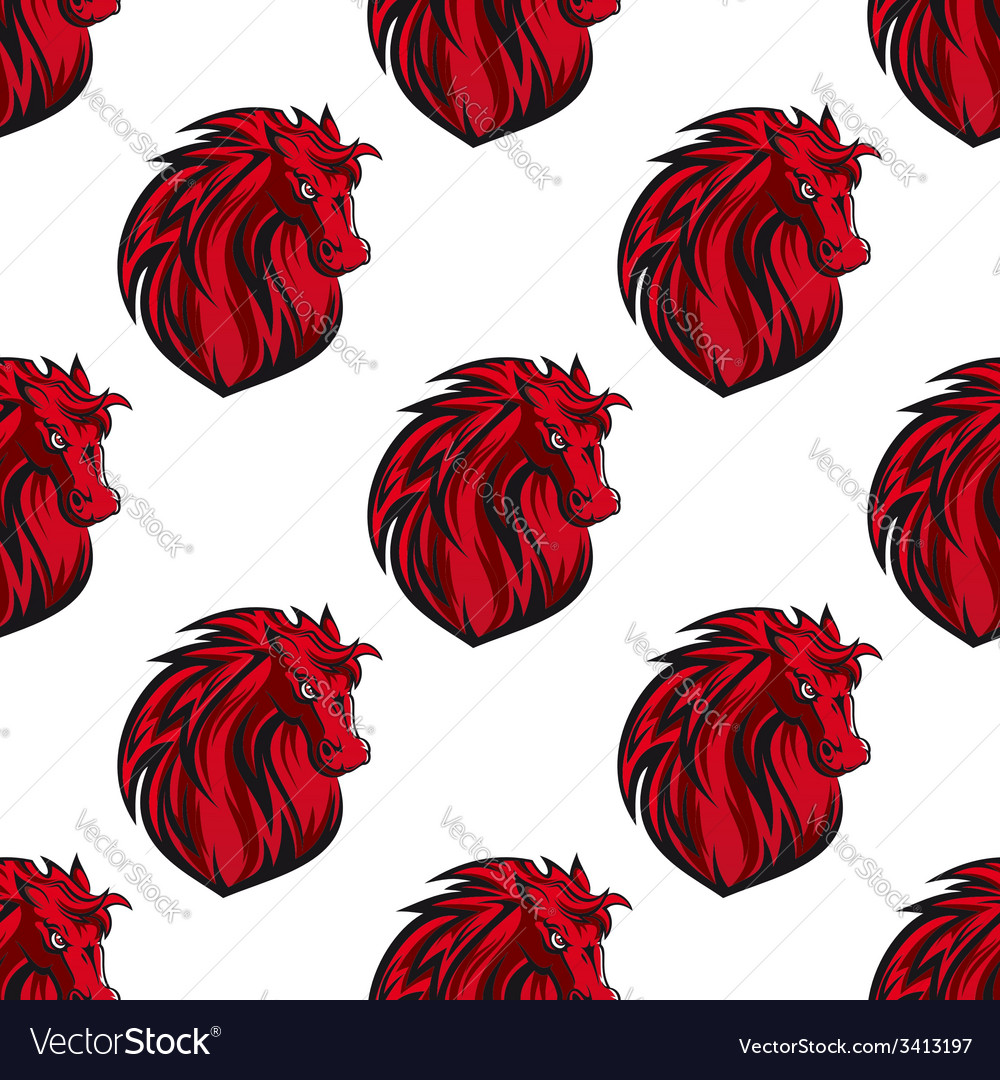 Seamless pattern of red horses heads vector | Price: 1 Credit (USD $1)