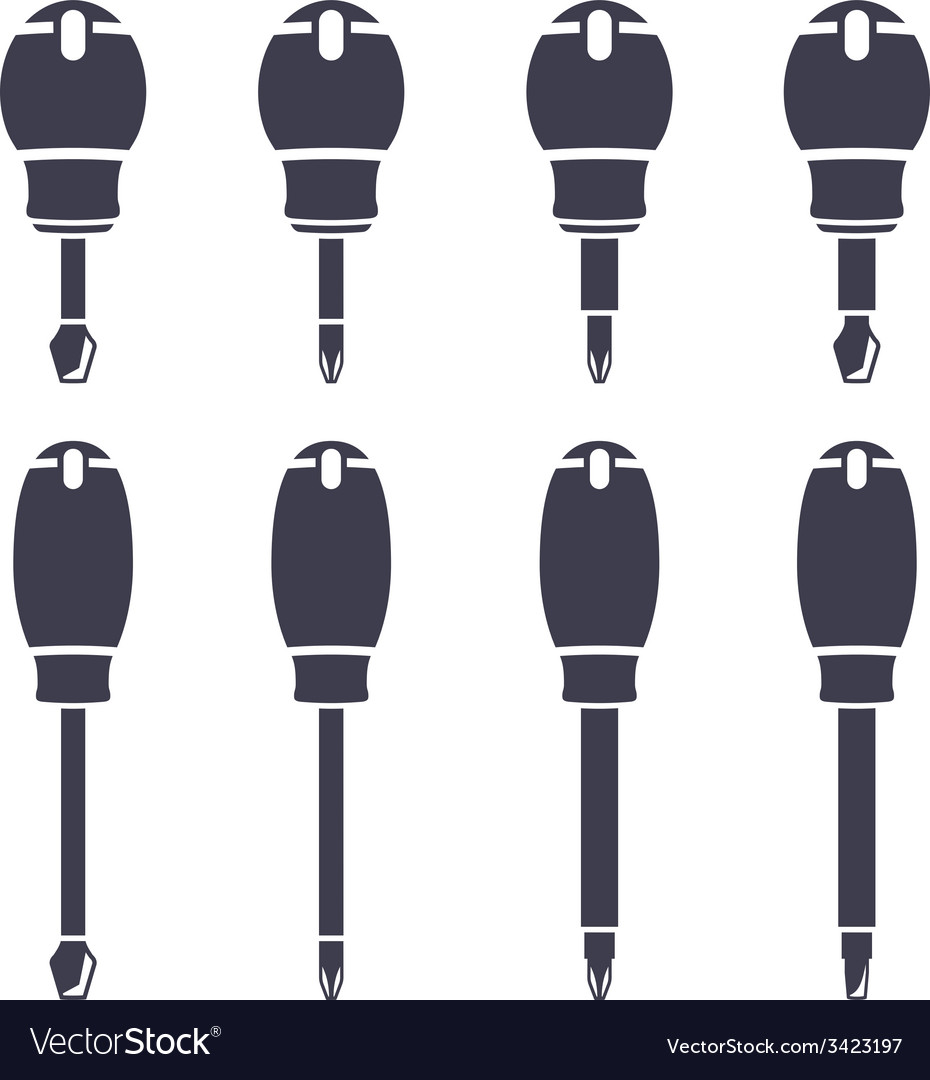 Set icons of screwdrivers vector | Price: 1 Credit (USD $1)