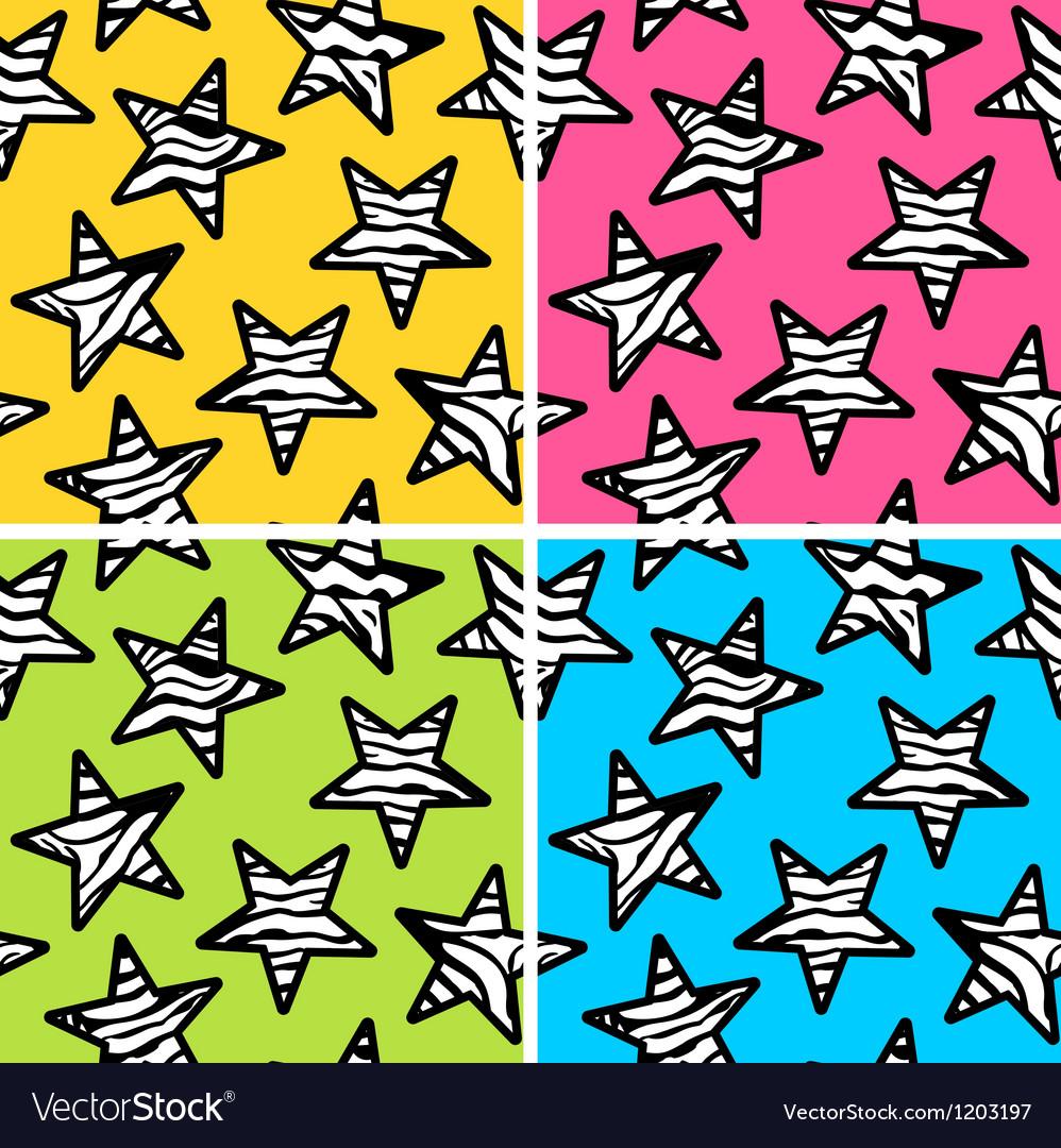 Set of 4 zebra print stars backgrounds vector