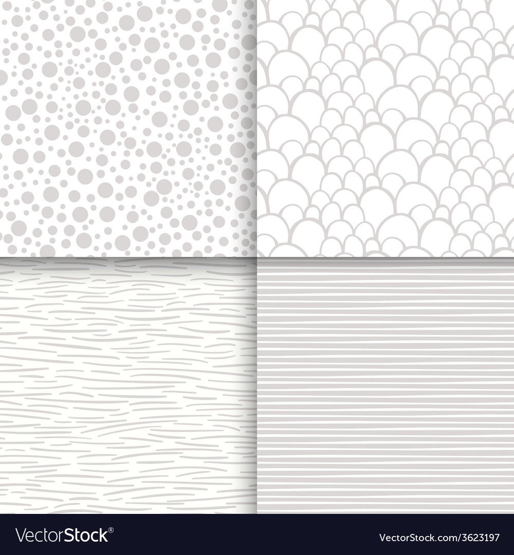 Simple neutral monochrome seamless patterns set vector | Price: 1 Credit (USD $1)