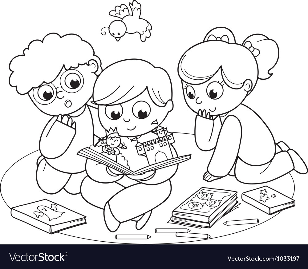 Three kids reading a pop-up book vector | Price: 1 Credit (USD $1)