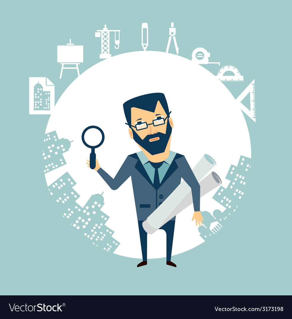 Architect expert looking through a magnifying vector | Price: 1 Credit (USD $1)