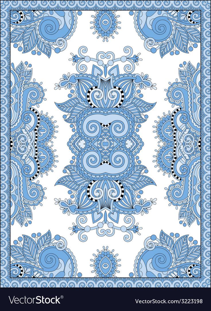 Blue colour ukrainian floral carpet design for vector | Price: 1 Credit (USD $1)