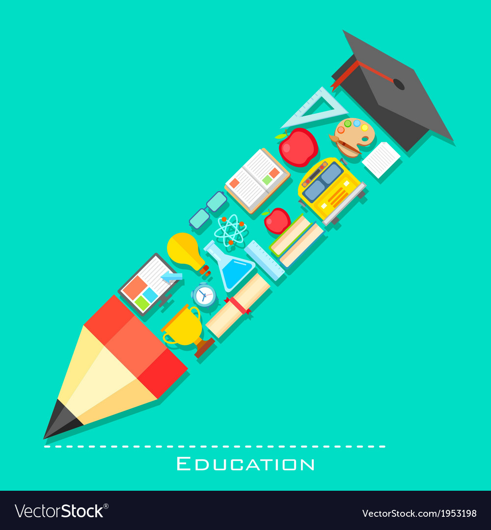 Education icon in shape of pencil vector | Price: 1 Credit (USD $1)