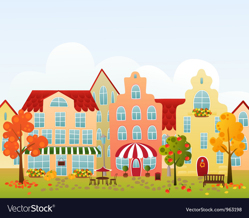 Fall town street vector | Price: 1 Credit (USD $1)