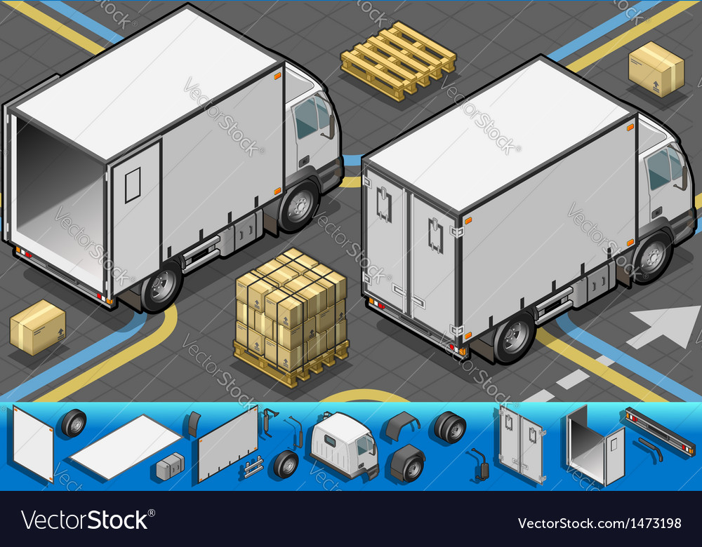Isometric container refrigerator truck in rear vector | Price: 1 Credit (USD $1)