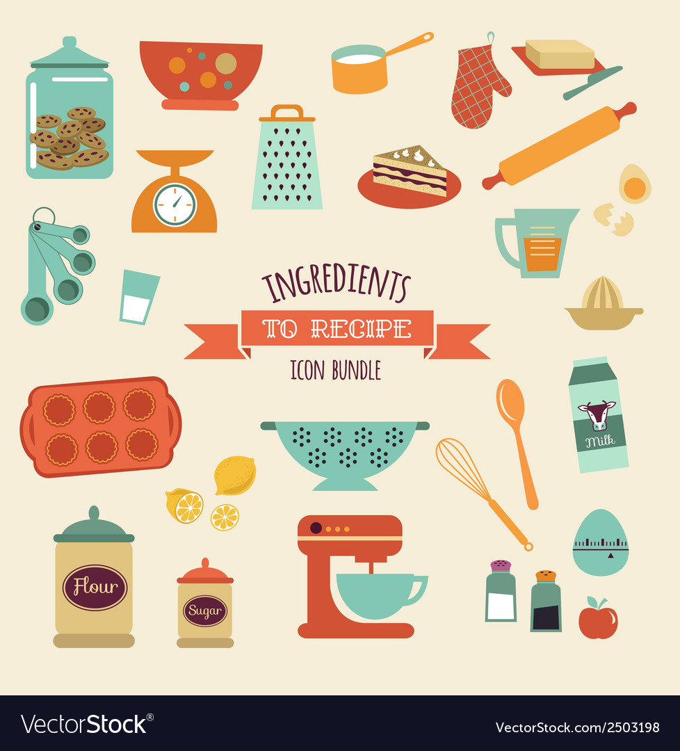Recipe and kitchen design icon set vector | Price: 1 Credit (USD $1)
