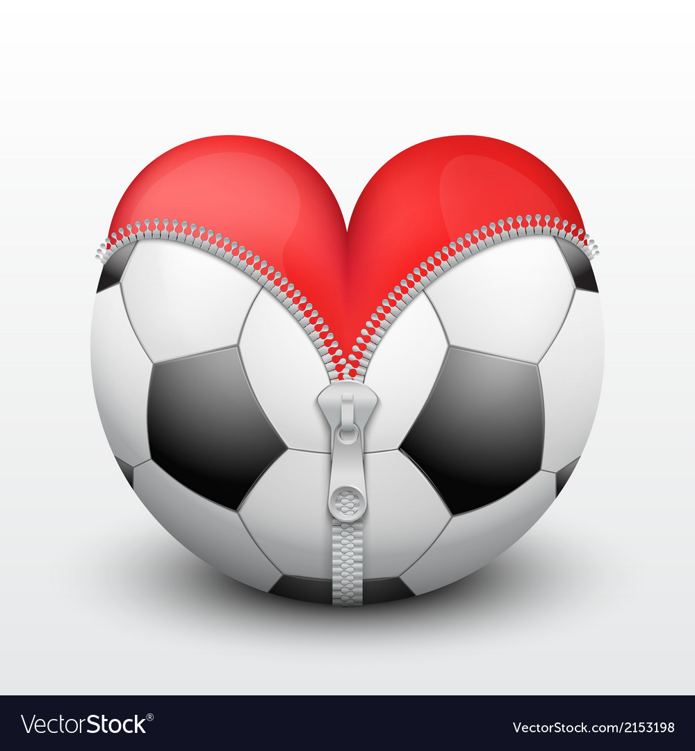 Red heart inside soccer ball vector | Price: 1 Credit (USD $1)