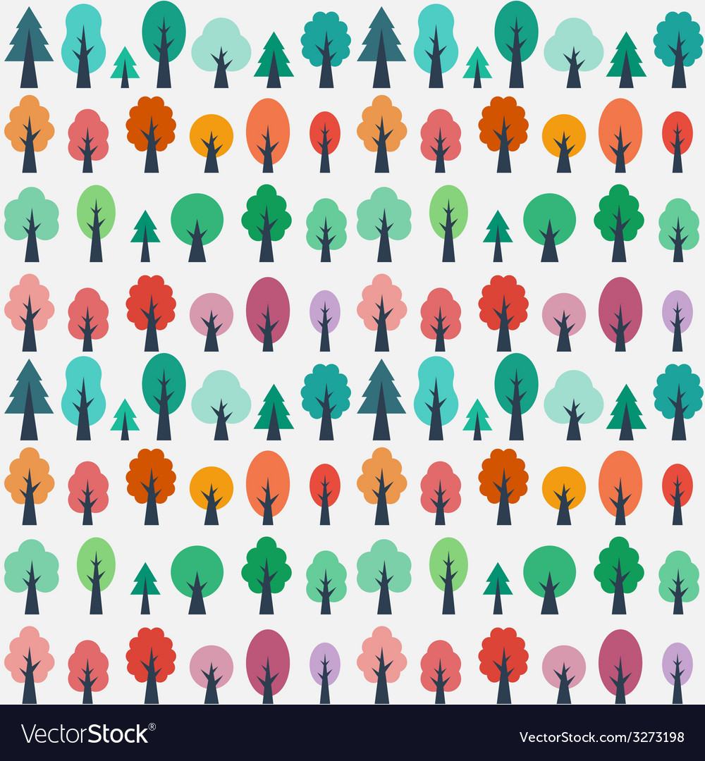 Seamless pattern with flat trees vector | Price: 1 Credit (USD $1)