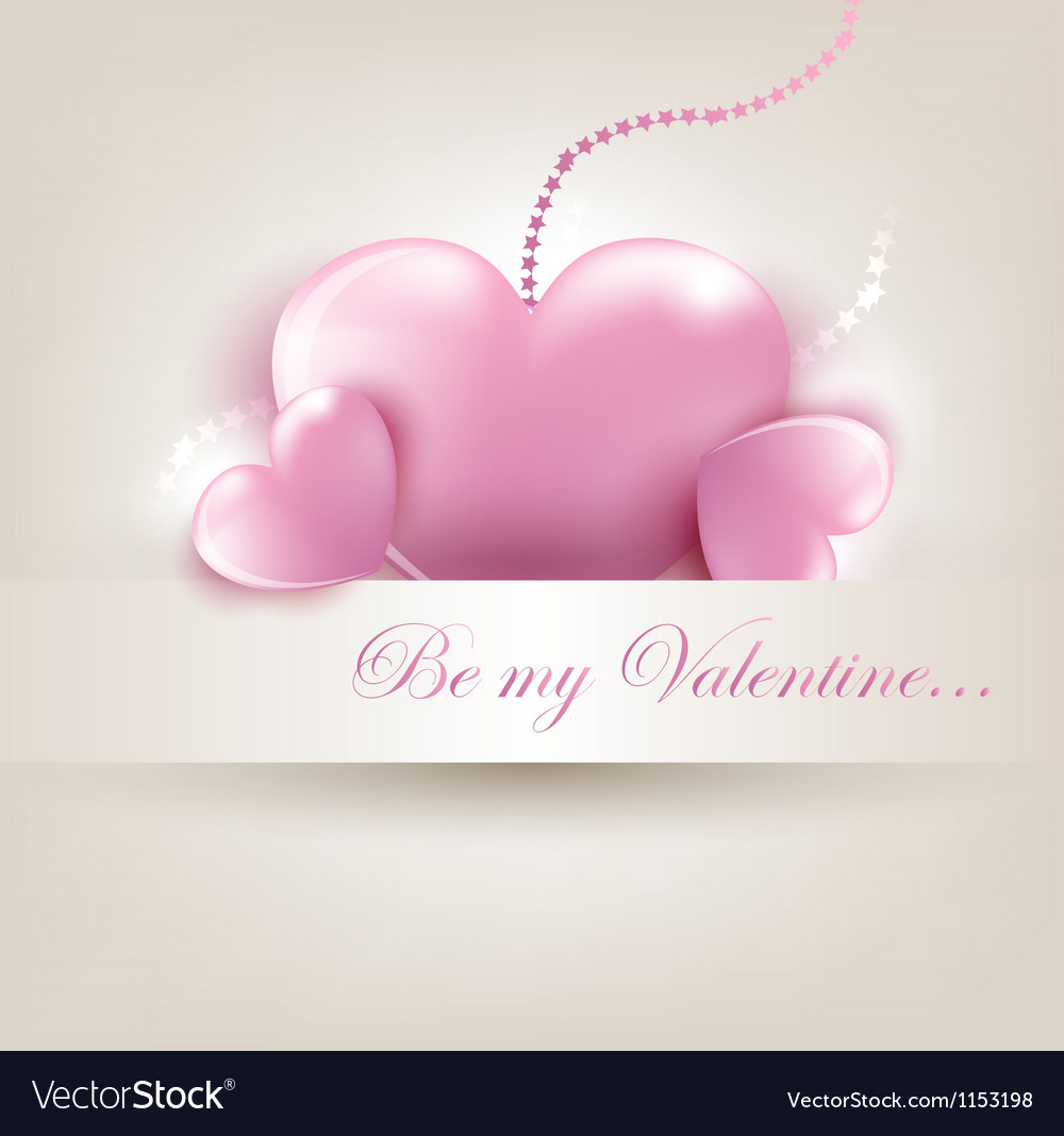 Valentins day card with hearts vector | Price: 1 Credit (USD $1)