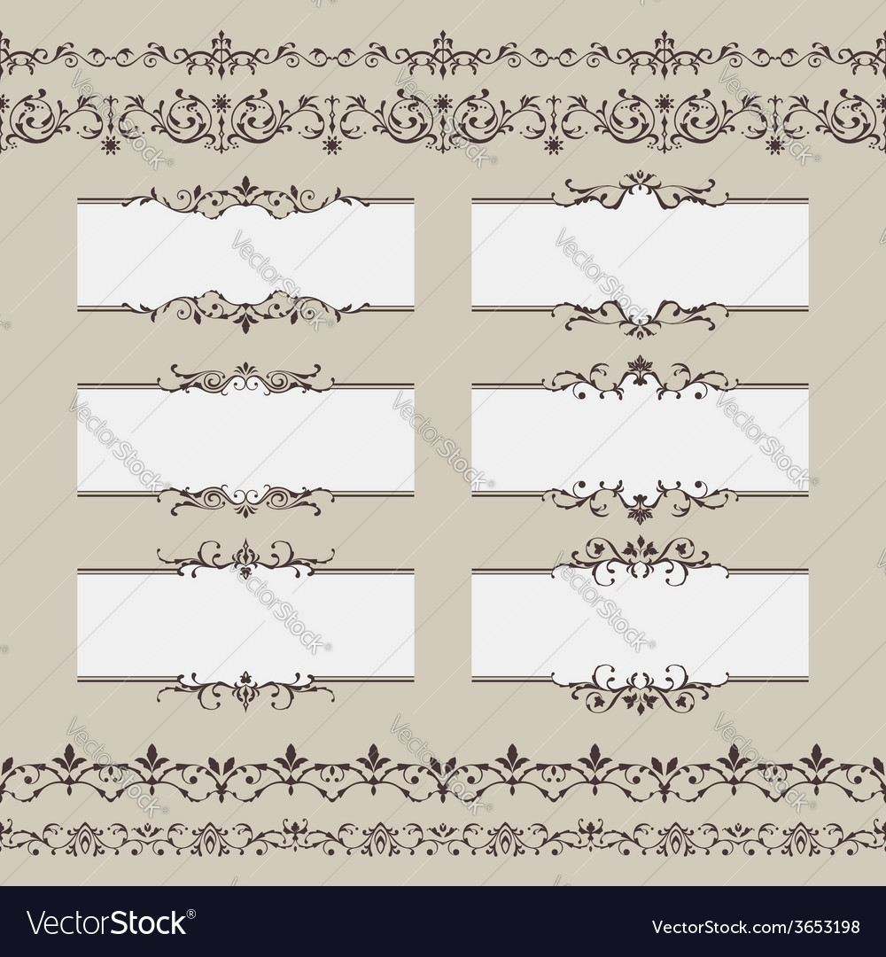 Vintage frame border set vector | Price: 1 Credit (USD $1)