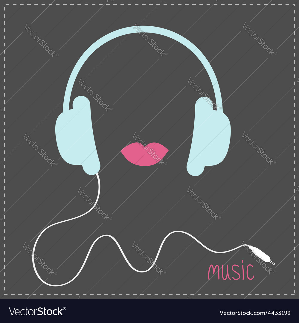 Blue headphones with cord pink lips music card vector | Price: 1 Credit (USD $1)