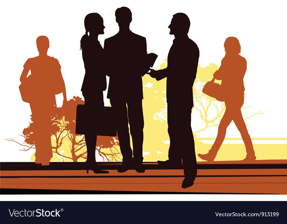 Business meet on the street vector | Price: 1 Credit (USD $1)