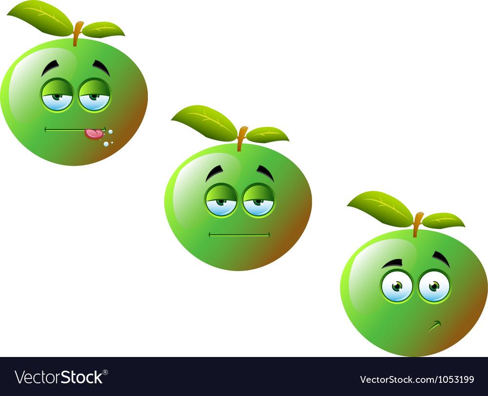 Cartoon apple fruit set 1 vector | Price: 1 Credit (USD $1)