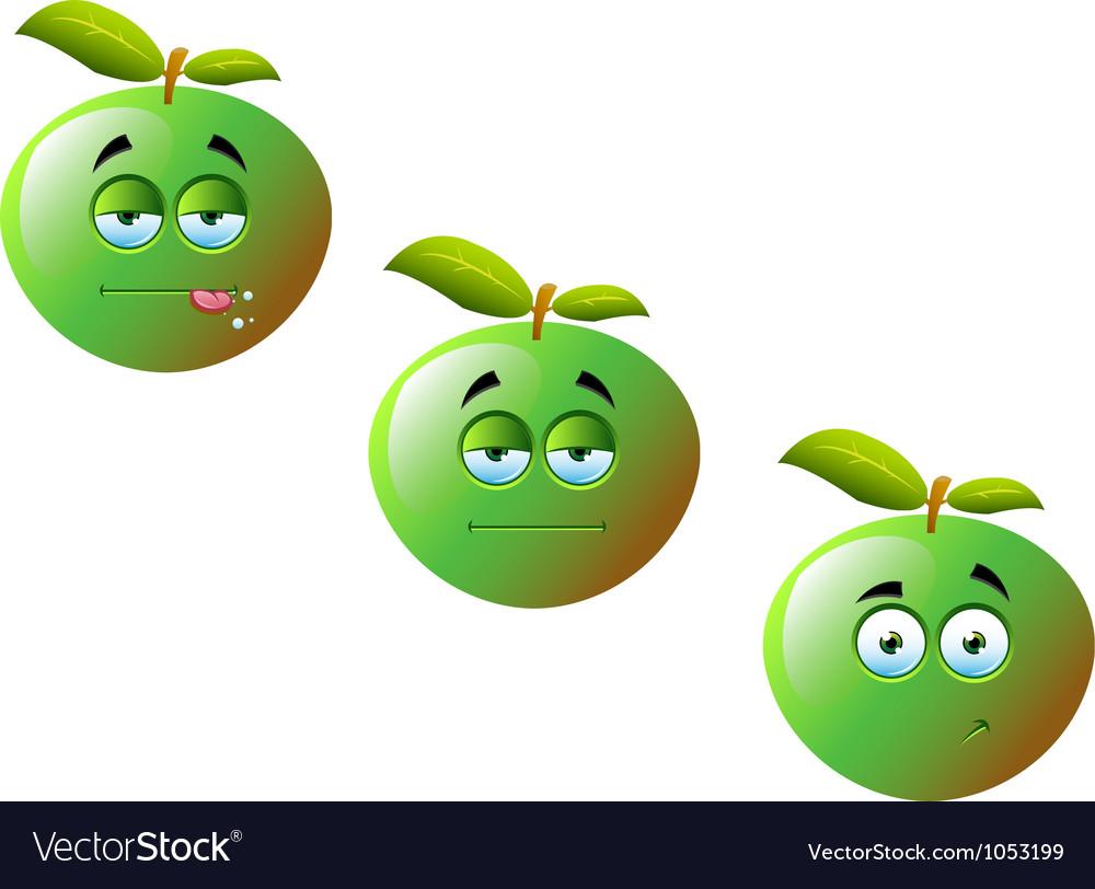 Cartoon apple fruit set 1 vector | Price: 1 Credit (USD $1)
