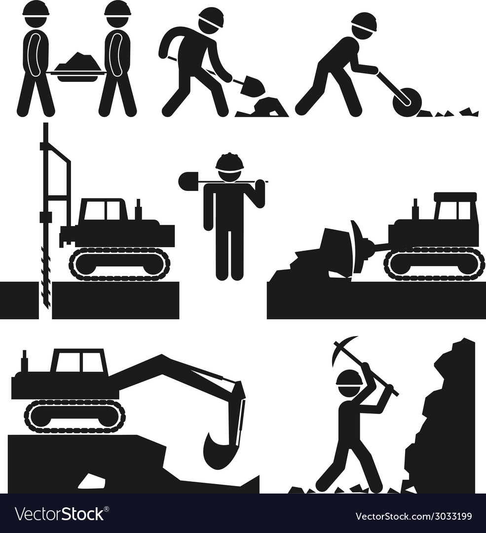 Collection of black construction earthworks icons vector | Price: 1 Credit (USD $1)