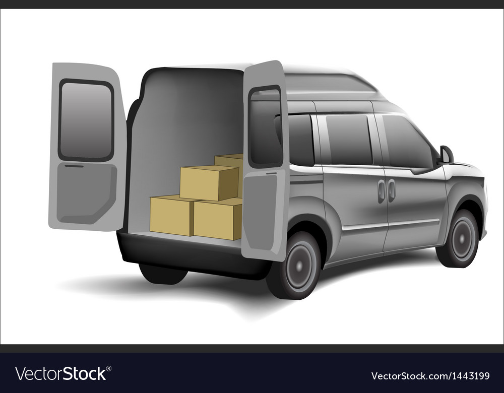 Delivery van with boxes on a white background vector | Price: 1 Credit (USD $1)