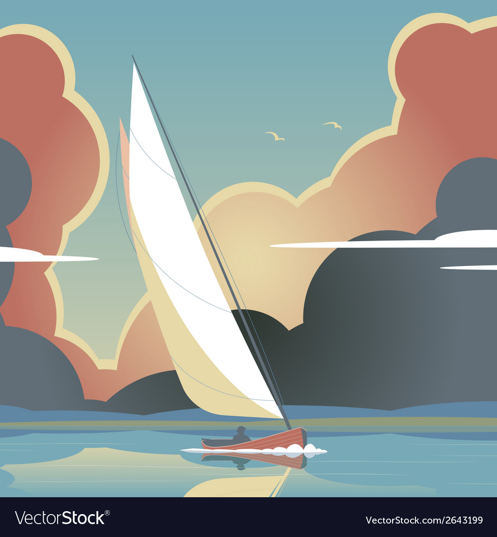 Evening sail vector | Price: 1 Credit (USD $1)