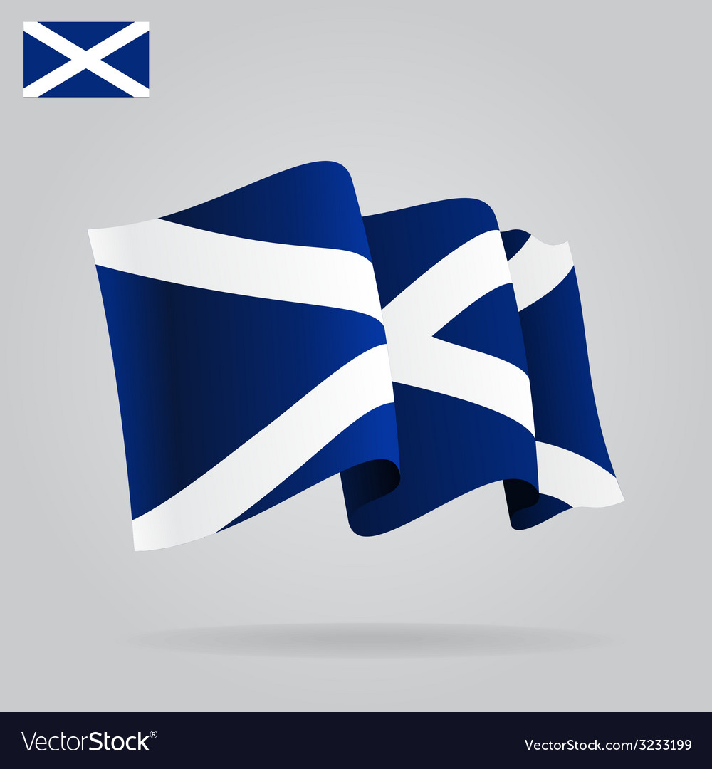 Flat and waving scottish flag vector | Price: 1 Credit (USD $1)