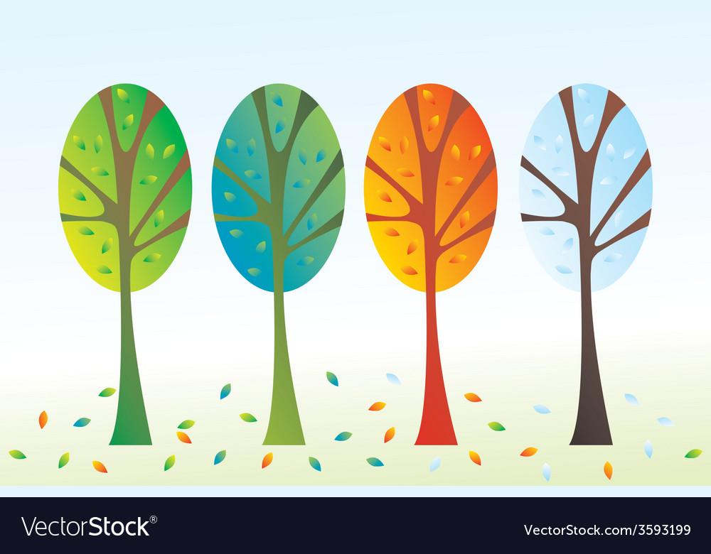 Four seasons trees vector   Price: 1 Credit (USD $1)