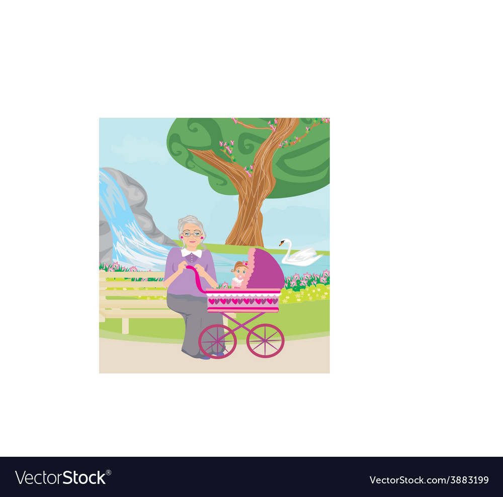 Grandmother with her granddaughter for a walk in vector | Price: 1 Credit (USD $1)