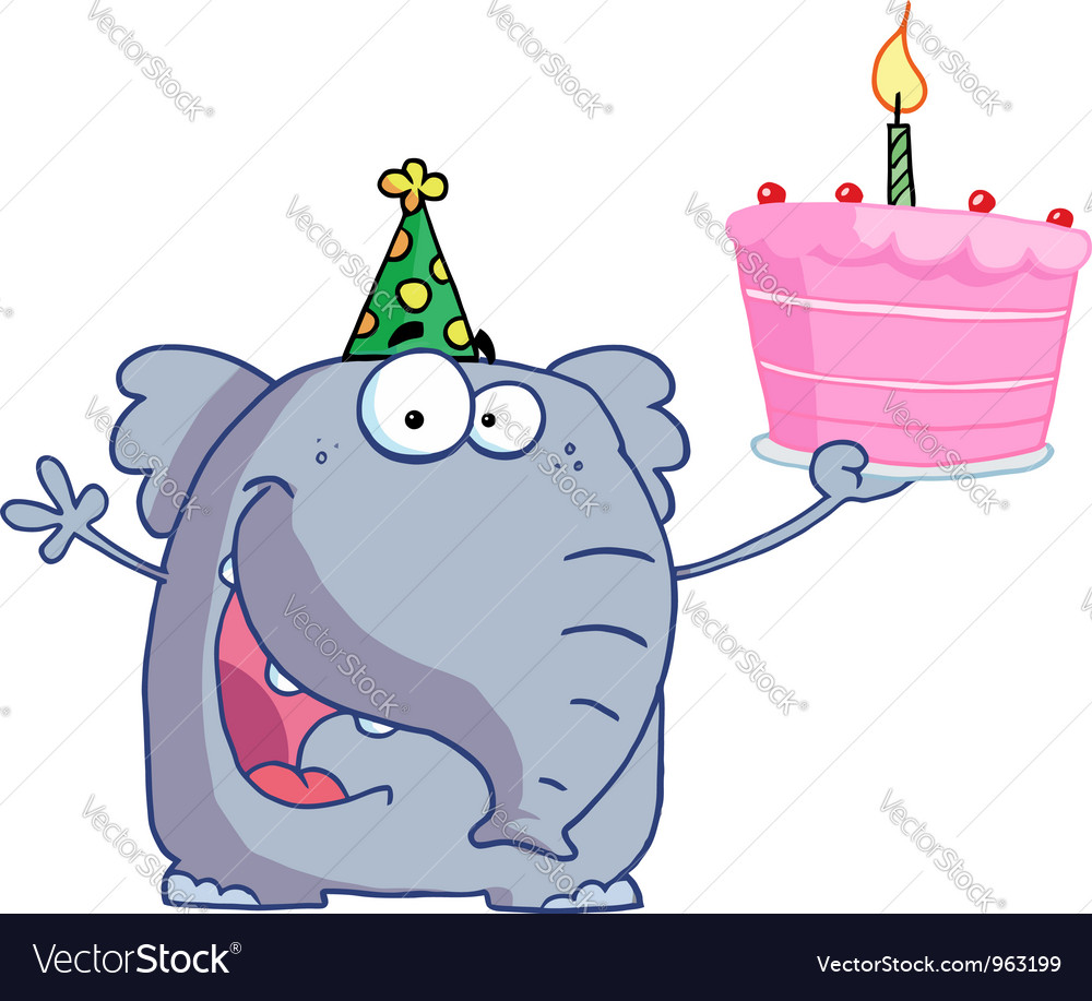 Happy birthday elephant in a party hat vector | Price: 1 Credit (USD $1)