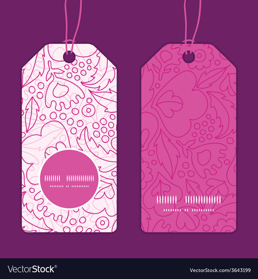 Pink flowers lineart vertical round frame pattern vector | Price: 1 Credit (USD $1)