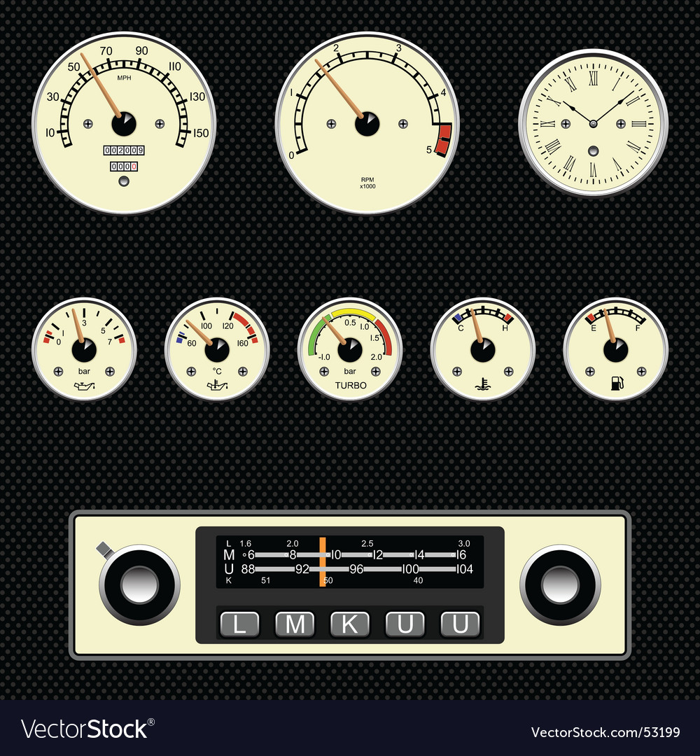 Retro car gauges vector | Price: 1 Credit (USD $1)