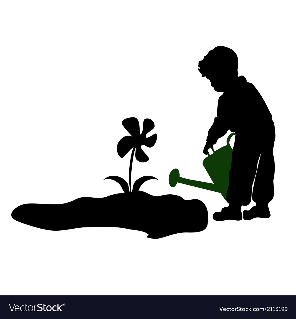 Silhouette of a child watering flowers vector | Price: 1 Credit (USD $1)