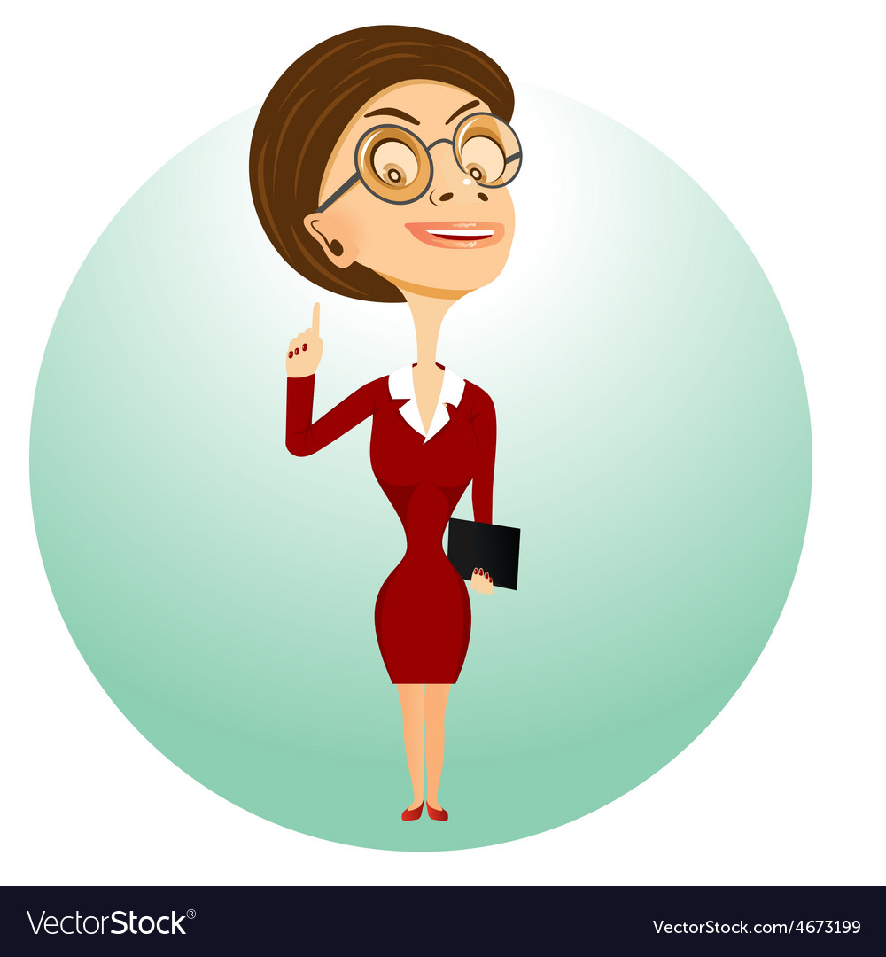 Teacher with glasses holding folder vector | Price: 1 Credit (USD $1)