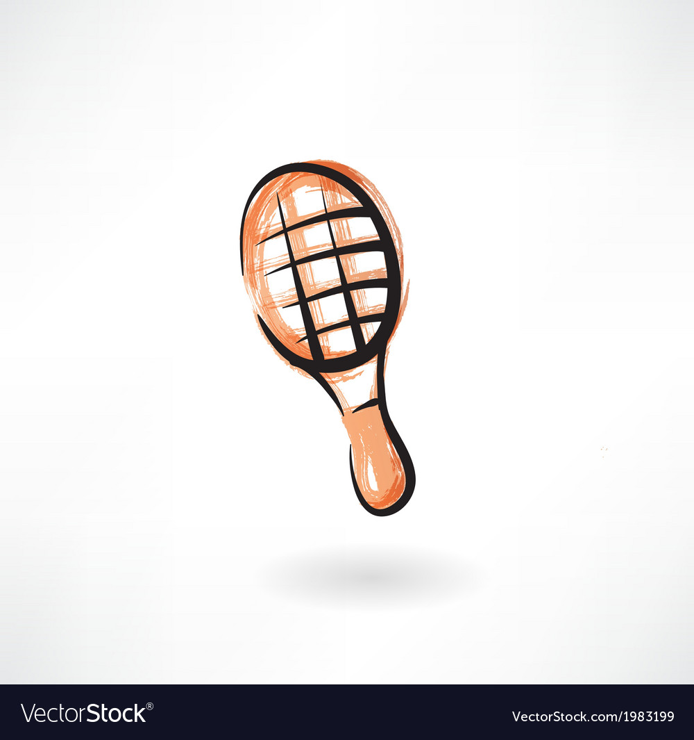 Tennis racket grunge icon vector | Price: 1 Credit (USD $1)