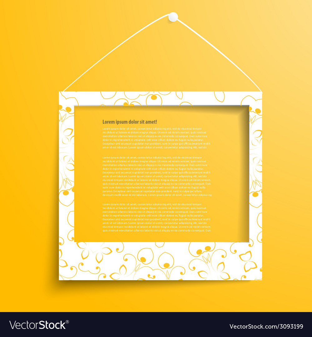 White frames on the yellow wall vector   Price: 1 Credit (USD $1)