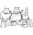 Wild animals group cartoon for coloring book vector