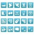 Wireless icons on blue squares vector