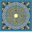 Golden and blue square and round greek ornament vector
