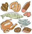 Set of different meats vector