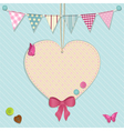 Heart decoration and bunting background vector