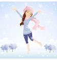 Winter jumping girl vector